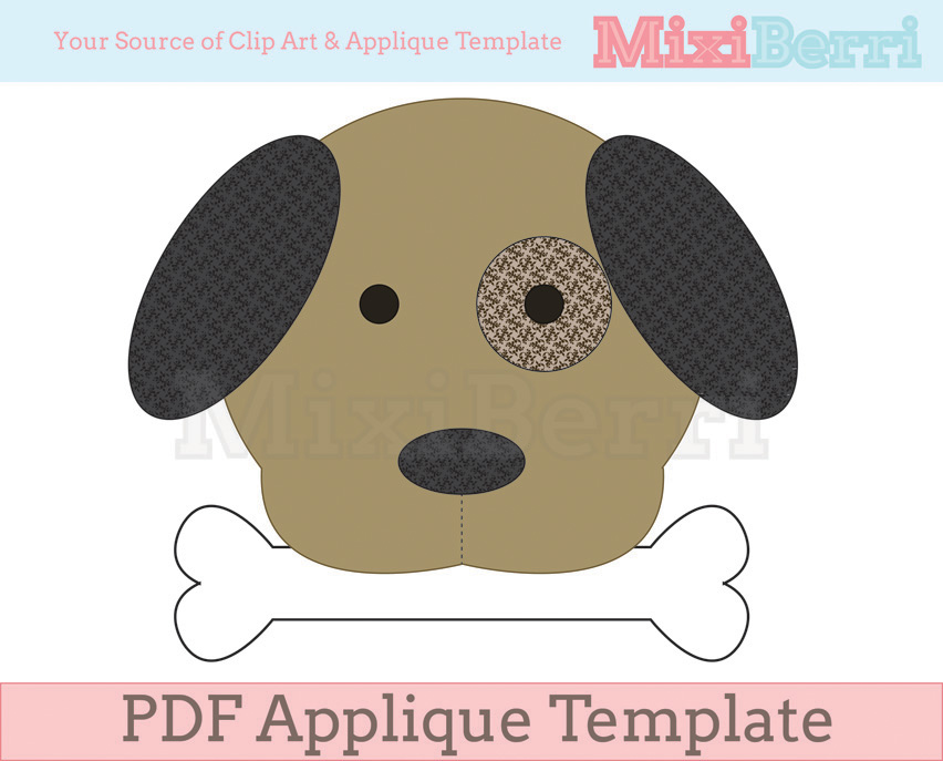 Dog and bone applique template pdf on luulla