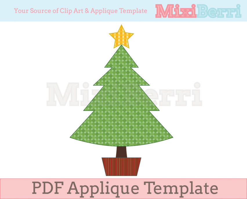 Christmas Tree With Star Applique Template PDF On Luulla