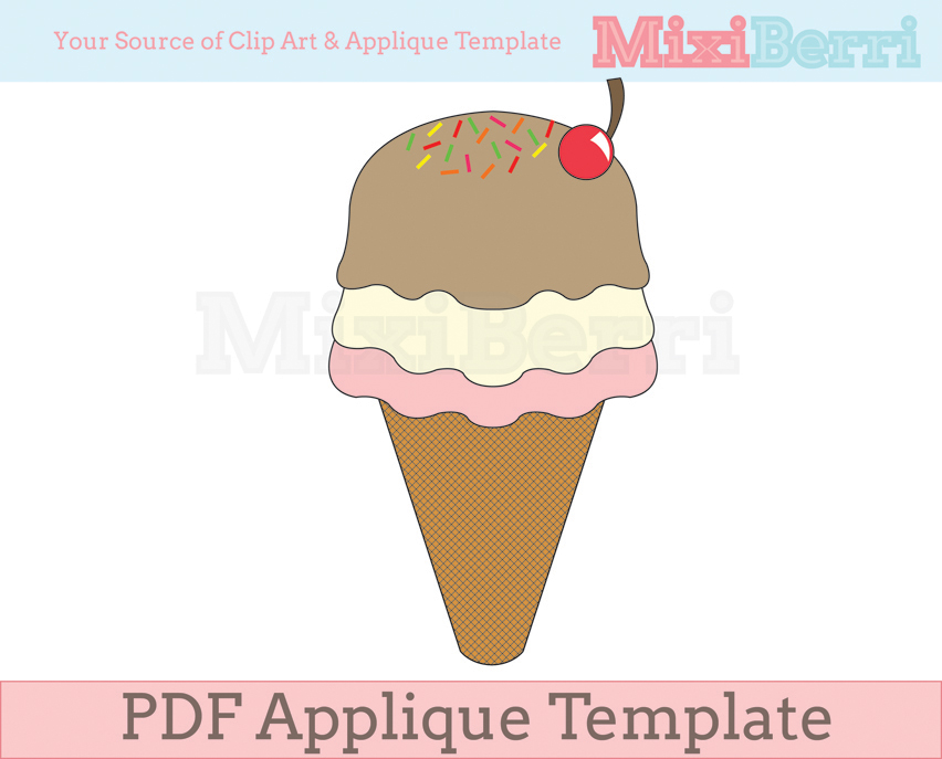 ice cream fabric applique template pdf on luulla