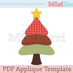 Three Tier Christmas Tree Applique Template PDF