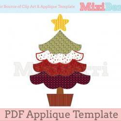 Cute Christmas Tree Applique Template PDF